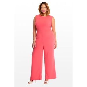Fashion To Figure Pink Zenia Zip Jumpsuit